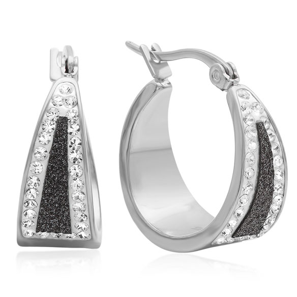 Black Diamond Dust Hoop Earrings - View 2