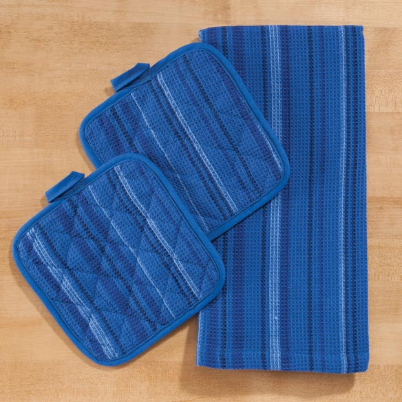 Striped 3 Piece Kitchen Towel Set - View 2
