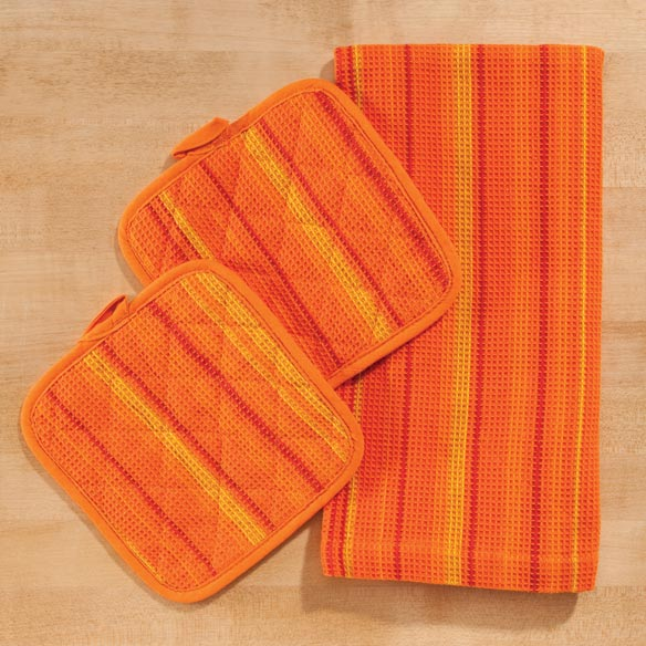 Striped 3 Piece Kitchen Towel Set - View 4