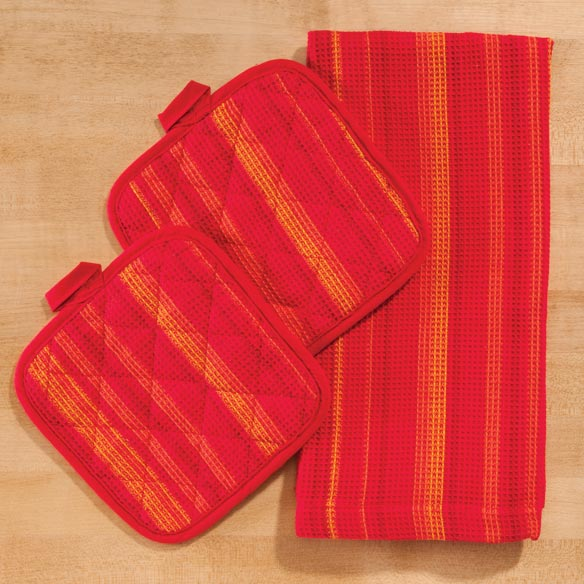 Striped 3 Piece Kitchen Towel Set - View 5