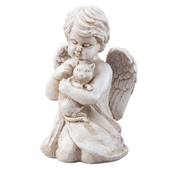 Angel with Cat Memorial Statue - View 2
