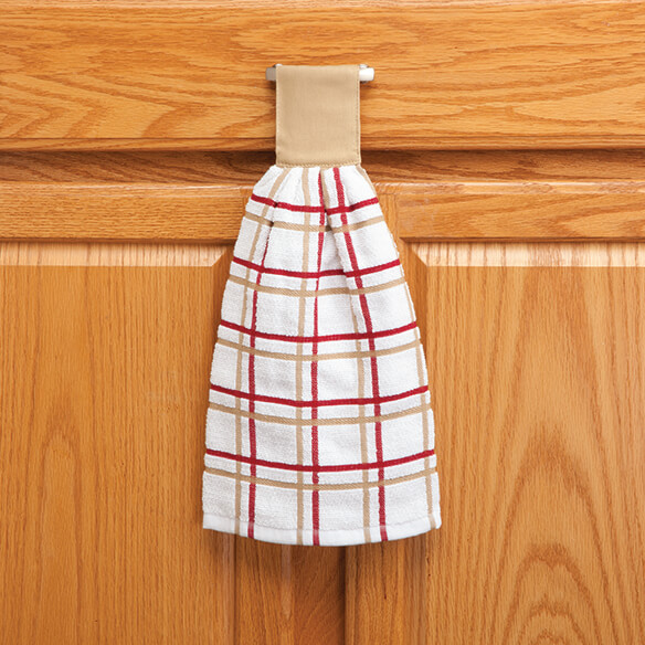 Cotton Hanging Towel - Checked - View 4