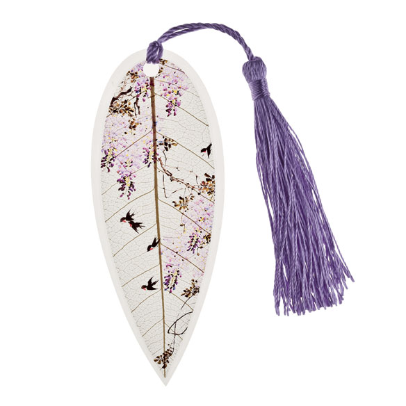 Leaf Bookmark with Birds, Purple - View 2