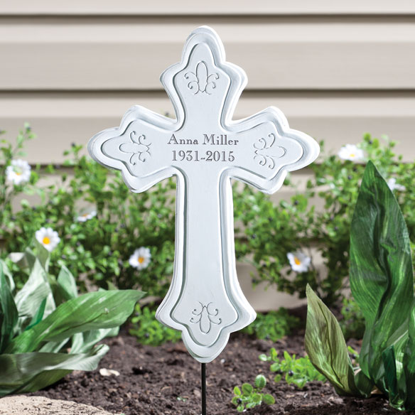 Personalized Memorial Cross Stake - View 2