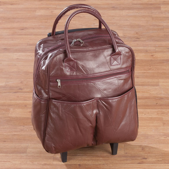 Burgundy Patch Leather Rolling Tote - View 3