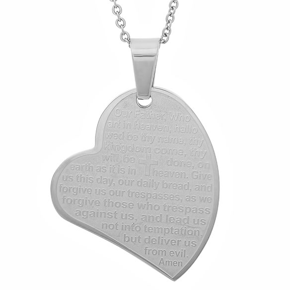 Lord's Prayer Heart Pendant Necklace - View 2