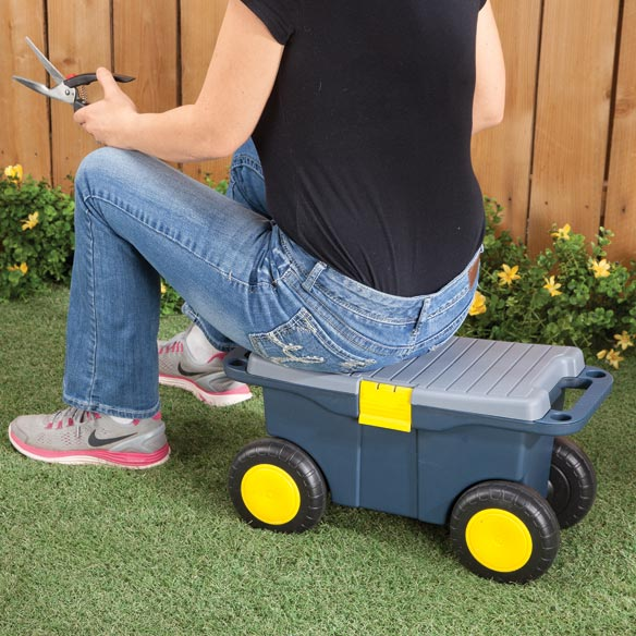 Sit-On Garden Tool Scooter with Storage - View 2