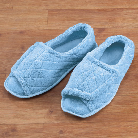 Quilted Chenille Adjustable Toe Slippers - View 3