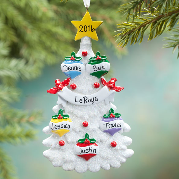 Personalized White Glitter Tree Ornament - View 3