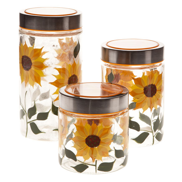 Sunflower Canisters Set Of 3 Glass Jars Glass Canisters Walter Drake