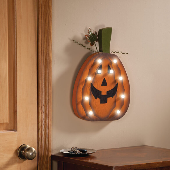 Wooden Lighted Jack-O-Lantern - View 3