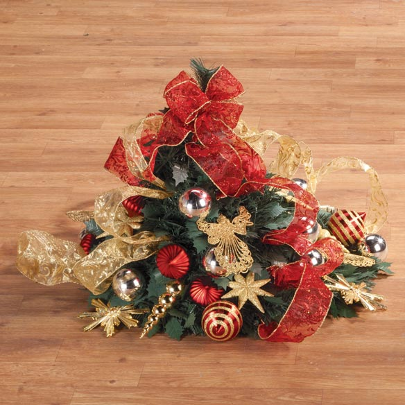 4-Foot Fully Decorated Red & Gold Pull-Up Tree - View 2