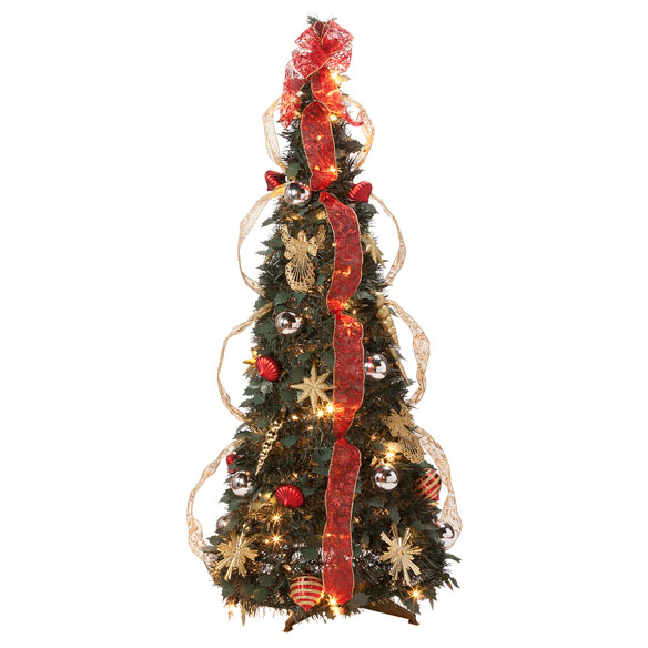 4-Foot Fully Decorated Red & Gold Pull-Up Tree by Northwoods™ - View 3
