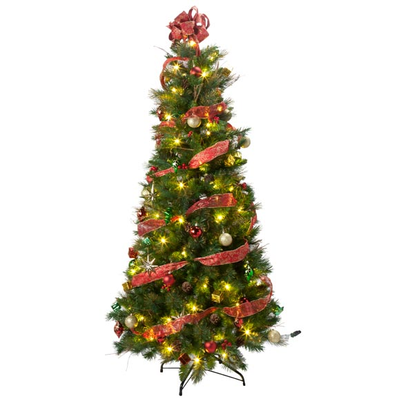 6-Foot Easy-Up Decorated Glitter Pine Tree - View 2