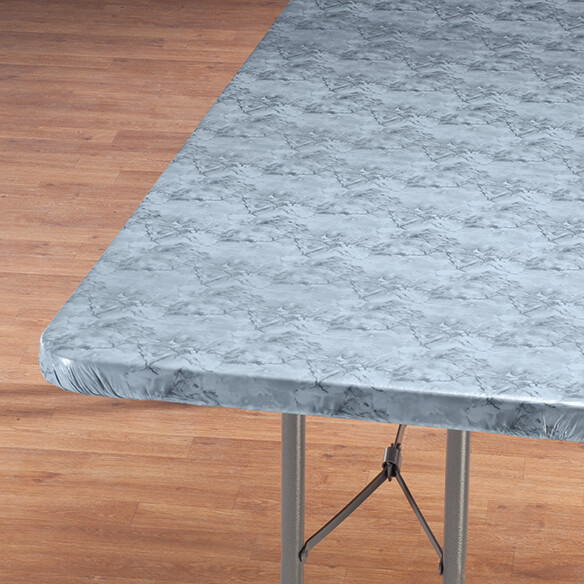 Marbled Elasticized Banquet Table Cover - View 2