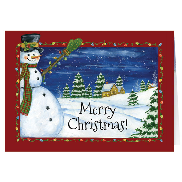 Festive Snowman Personalized Card Set of 20 - View 2