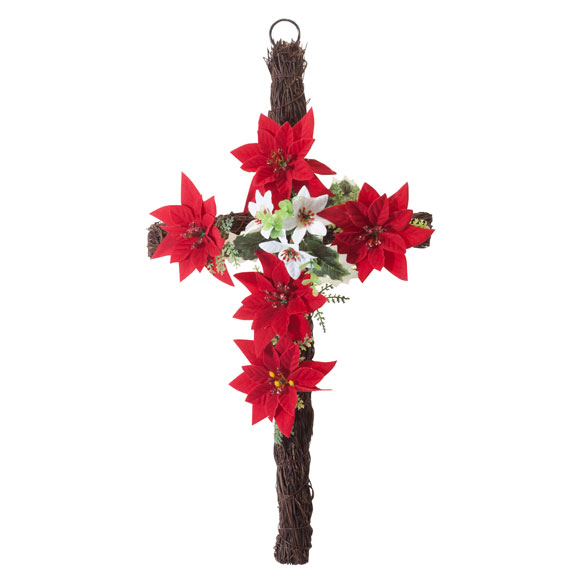 "18"" Grapevine Christmas Poinsettia Cross - View 2"