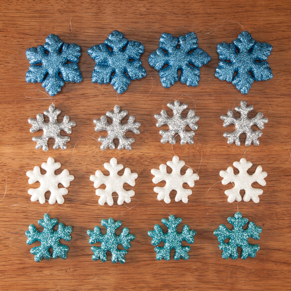 Glitter Snowflake Christmas Ornaments, Set of 16 - View 2