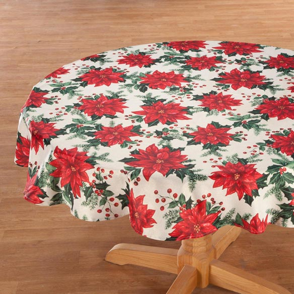 Poinsettia Metallic Fabric Tablecloth - View 2