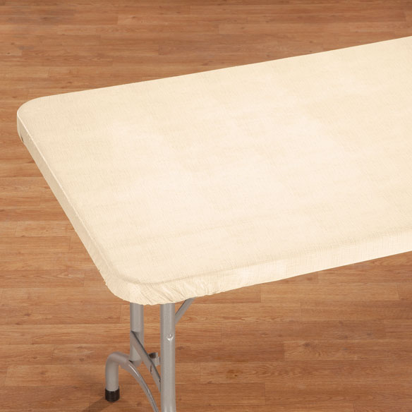Illusion Weave Vinyl Elasticized Banquet Table Cover - View 2