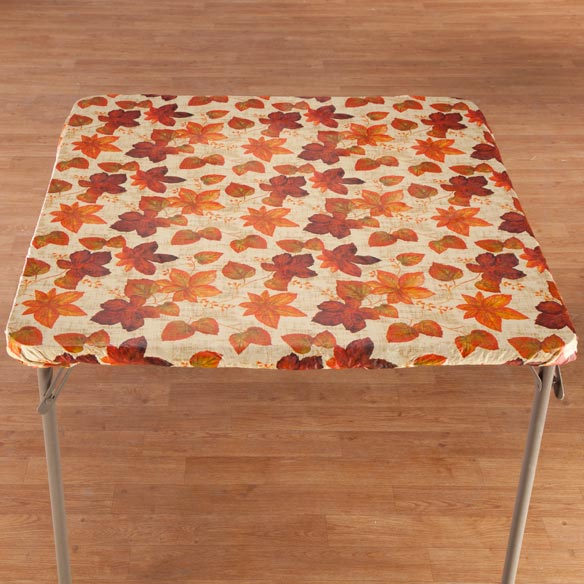 Autumn Leaves Elasticized Vinyl Table Cover - View 2