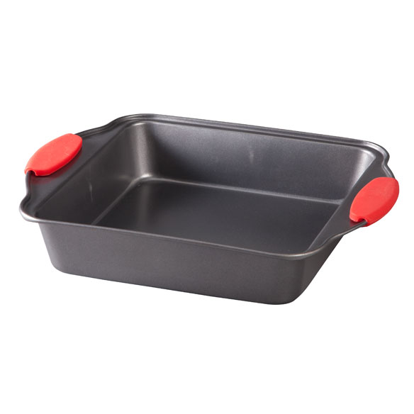 Square Cake Pan with Red Silicone Handles - View 2