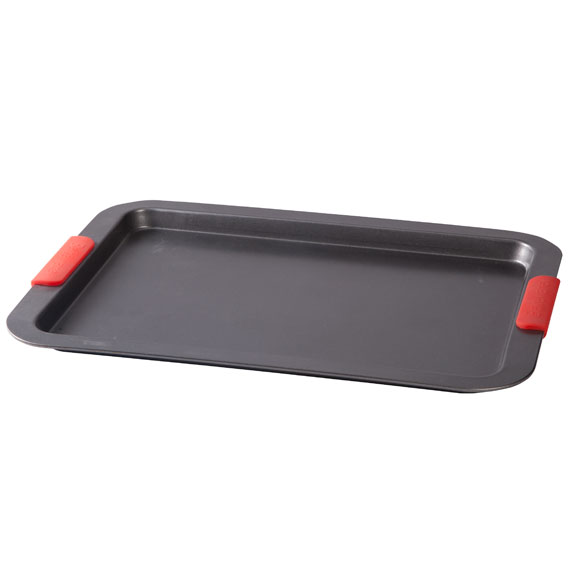 Large Baking Sheet with Red Silicone Handles - View 2