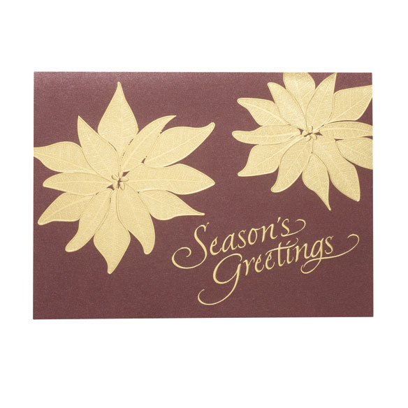 Golden Poinsettia Holiday Cards - Set of 18 - View 2