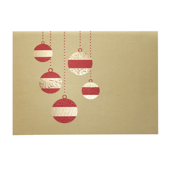 Golden Cascade Ornaments Holiday Cards - Set of 18 - View 2