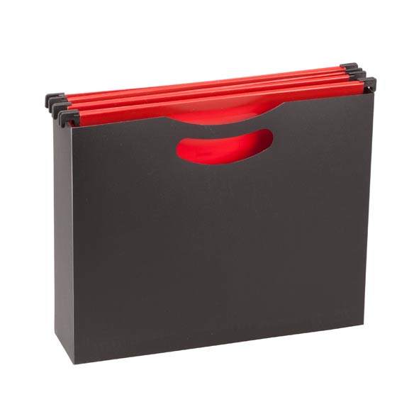 Portable Hanging File Box with Folders - View 2