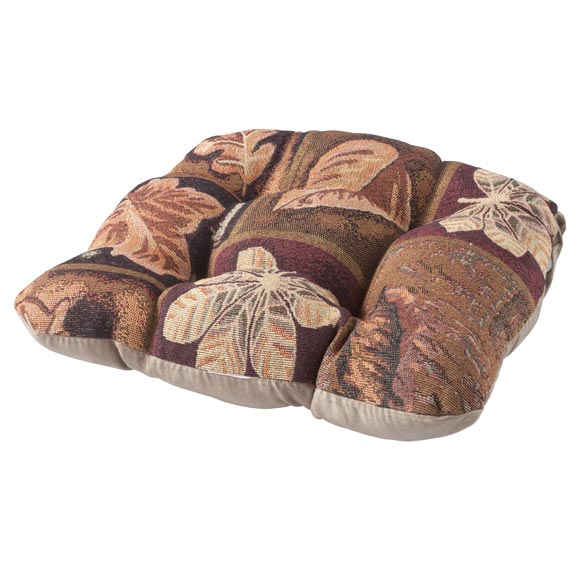Reversible Plaid Leaf Chair Pad - View 3