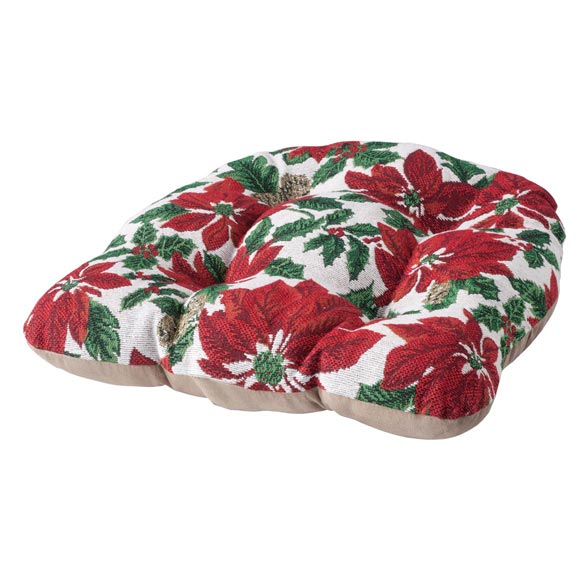 Reversible Christmas Poinsettias Chair Pad Seat Pads Walter Drake – Christmas Chair Pads