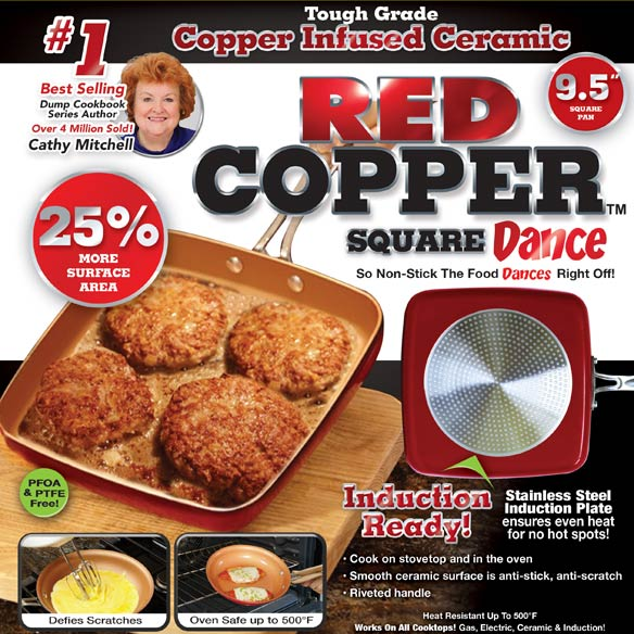 As Seen On TV Red Copper™ 9.5 Square Dance Pan - View 3
