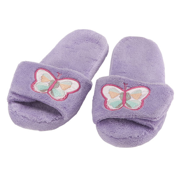Lavender Embroidered Butterfly Slippers - View 2