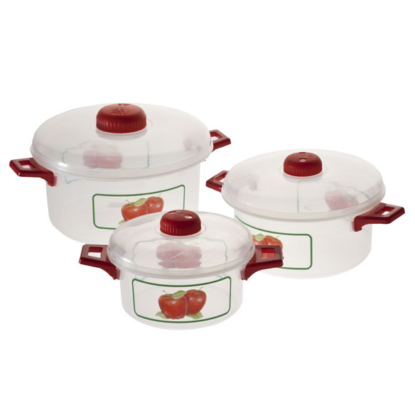 Microwave Pots with Apple Design, 6 Piece Set - View 2