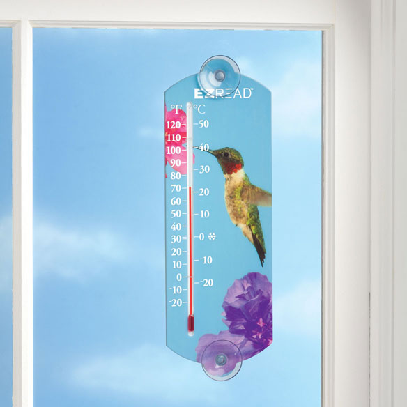 Hummingbird Window Thermometer - View 2