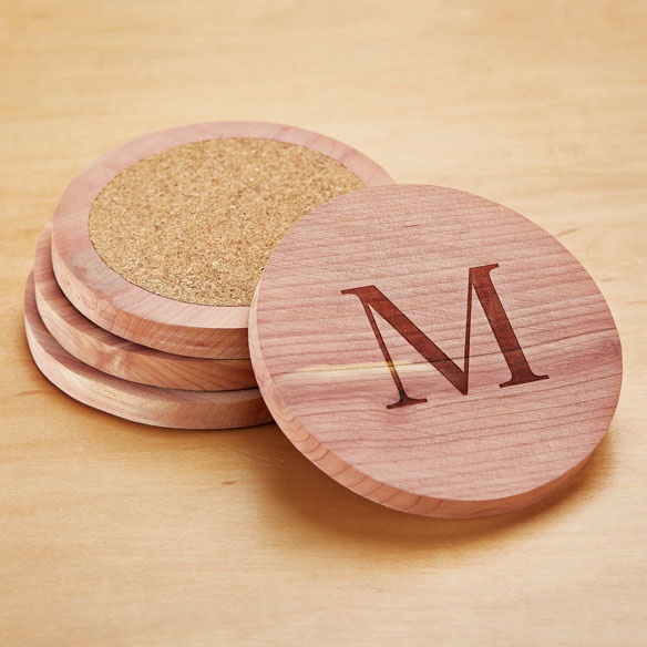 Woodlore® Personalized Cedar Coasters, Set of 4 - View 2