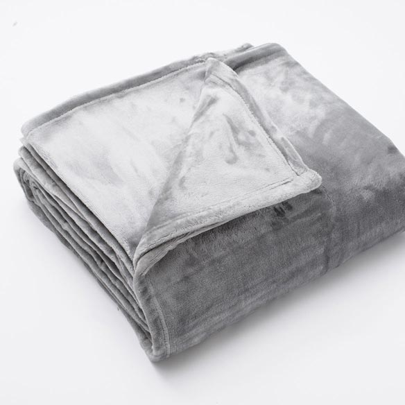 Marlo Collection Ultra Plush Solid Blanket, Twin, Silver