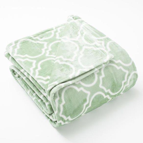 Lattice Scroll Design Ultra Plush Print Blanket, Twin, Basil Green