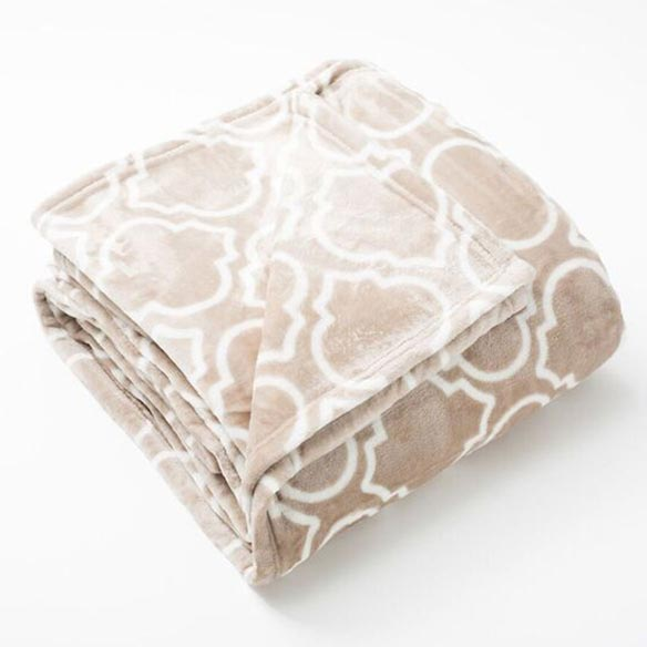Lattice Scroll Design Ultra Plush Print Blanket, Twin, Taupe