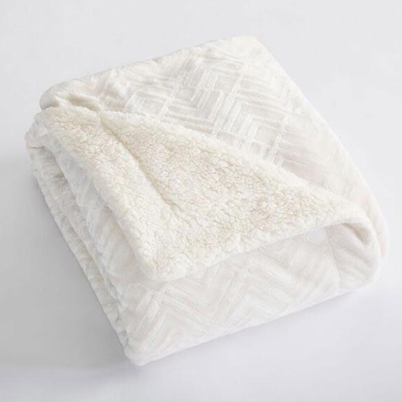 Reversible Berber Velvet Plush Luxury Blanket, Full/Queen, White