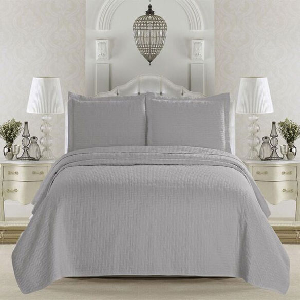 Emerson Collection 3-Piece Quilt Set, King, Pewter