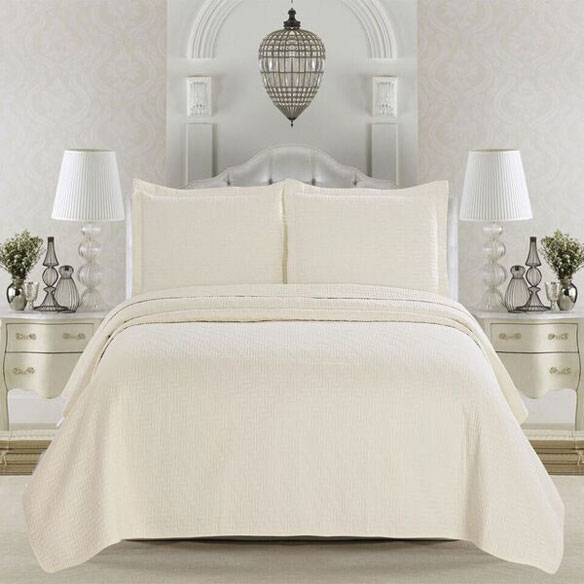 Emerson Collection 3-Piece Quilt Set, Full/Queen, Ivory