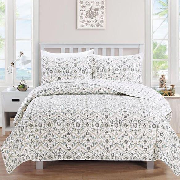 Cassandra Collection 3-Piece Print Quilt Set, King, Flax