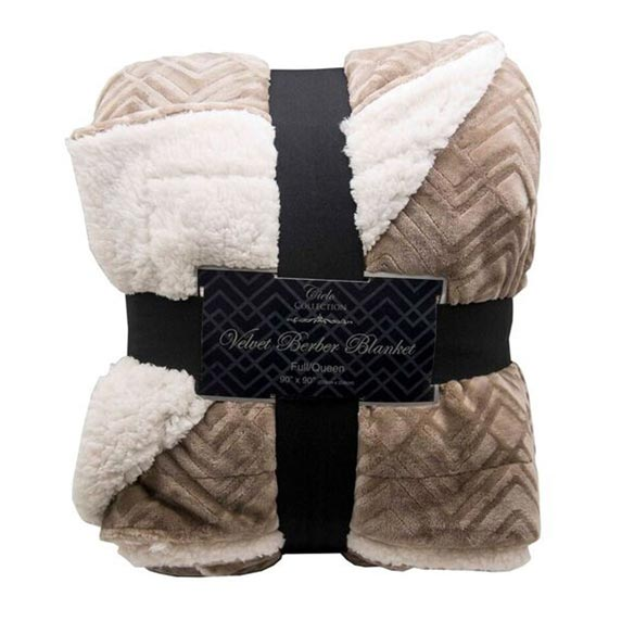 Reversible Berber Velvet Plush Luxury Throw, Taupe
