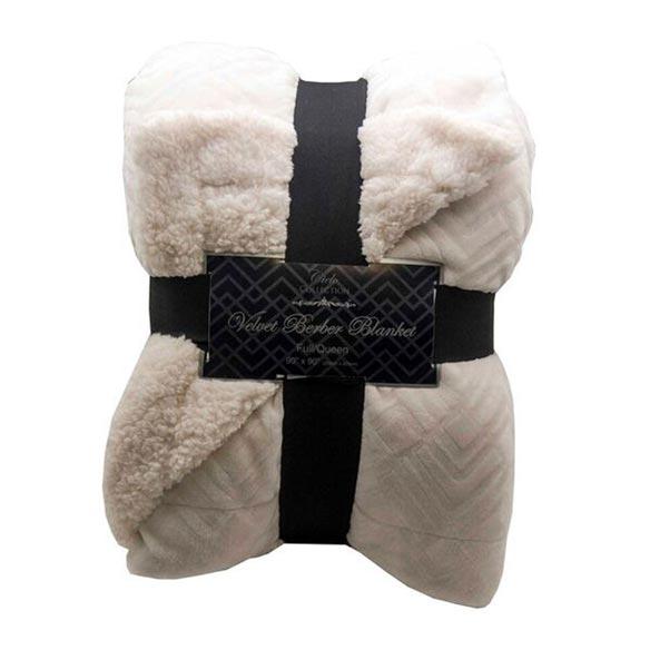 Reversible Berber Velvet Plush Luxury Throw, White