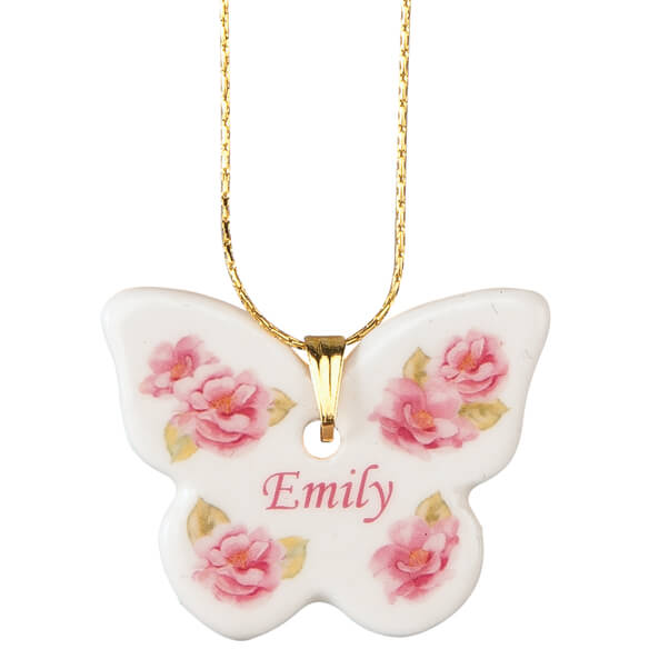 Personalized Porcelain Butterfly Pendant - View 2