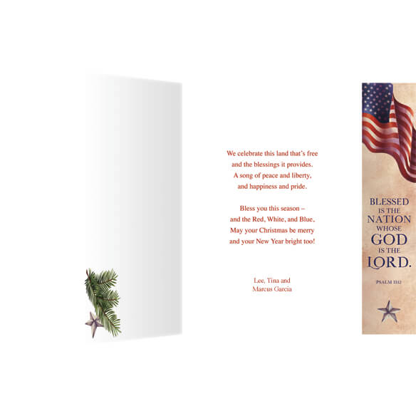 Patriotic Blessing Bookmark Christmas Card Set of 20 - View 2