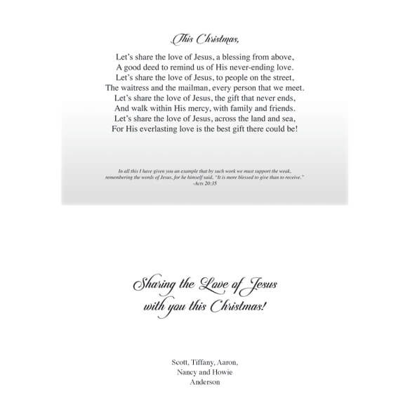 Personalized Share the Love of Jesus Christmas Cards - Set of 20 - View 2