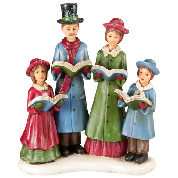 Victorian Christmas Carolers Figurines: Resin Christmas Caroler Family